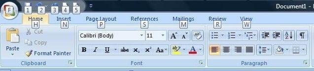Microsoft word 2007 toolbar