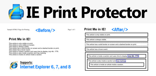 Printing HTML5 in Internet Explorer with IE Print Protector