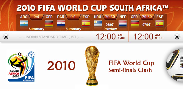 FIFA World Cup 2010 in South Africa - Semi-finals Clash
