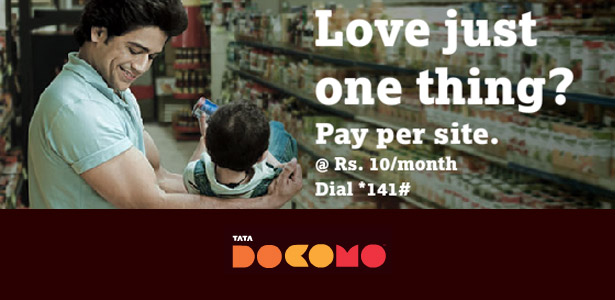 Now pay only for the websites you love surfing with Tata DOCOMO's 'PAY PER SITE'