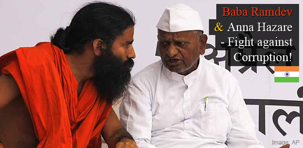Baba Ramdev and Anna Hazare - Fight Against Corruption in India