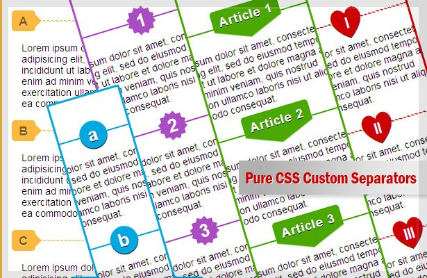 Custom CSS List or hr separator styles powered with Content property and pseudo-elements