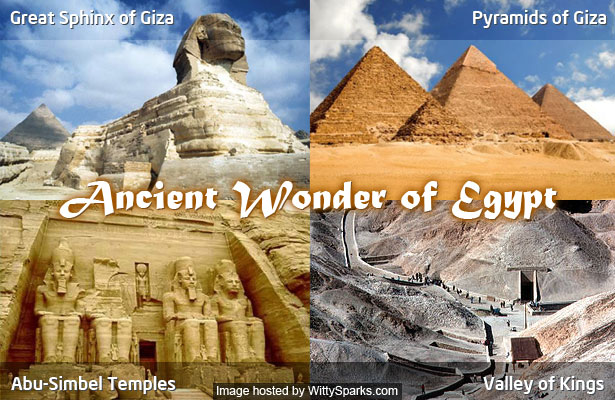 Wonders of Egypt - Pyramids of Giza, The Great Sphinx, The Valley of Kings, Abu-Simbel Temples
