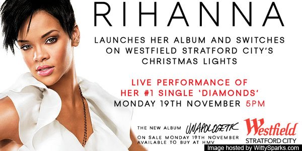 Rihanna is Switching on the Westfield Stratford City Christmas Lights and getting paid £5million