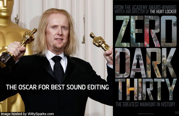 And the Oscar for best sound editing goes to - Zero Dark Thirty!