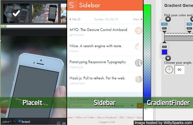 Design Resources and Tools - PlaceIt, Sidebar.io and Gradient Finder
