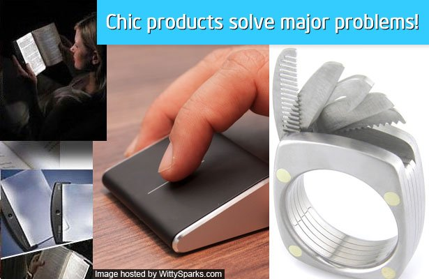 Chic products solve major problems - The Solo Reader, Titanium Utility Ring, Microsoft Wedge Touch Mouse