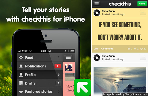 Checkthis a free iPhone app to tell stories
