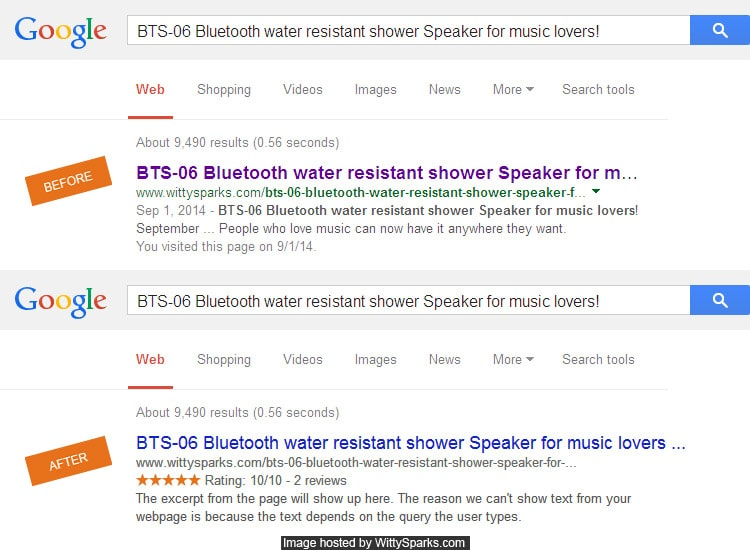 Google Rich Snippets for Review pages