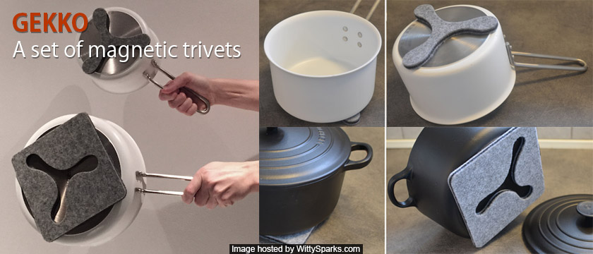GEKKO- Magnetic Trivets That Move With The Pan