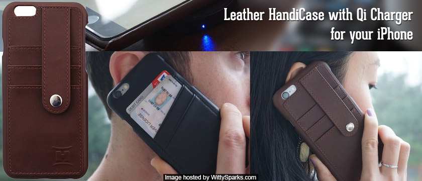 Protect and charge your iPhone with this Leather HandiCase with Qi Charger!