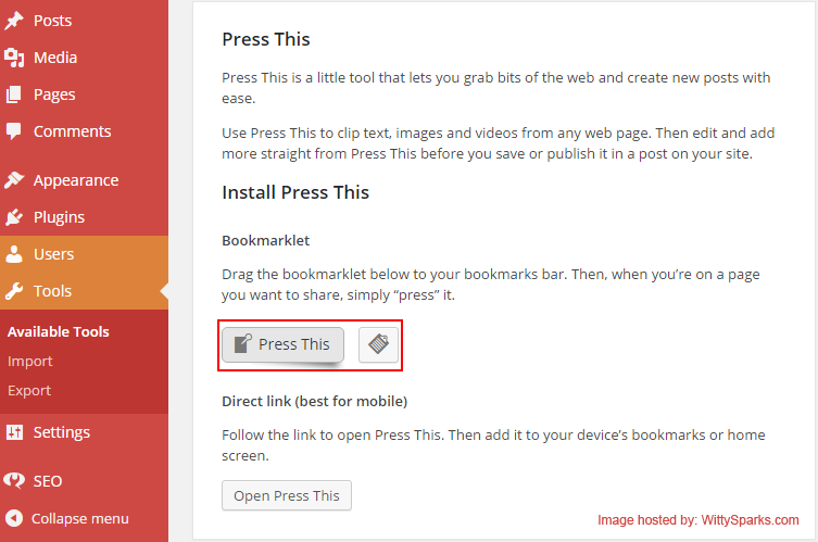 Press This Feature - WordPress