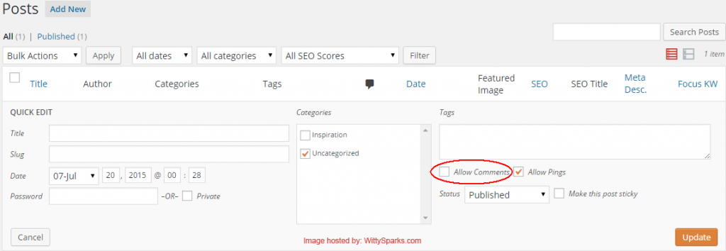 Allow or Disallow Comments WordPress