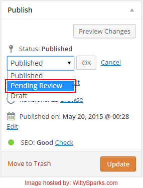 Marking Content for Review - WordPress