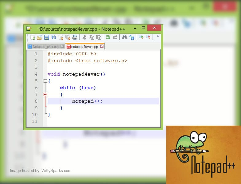 Notepad++: a free source code editor