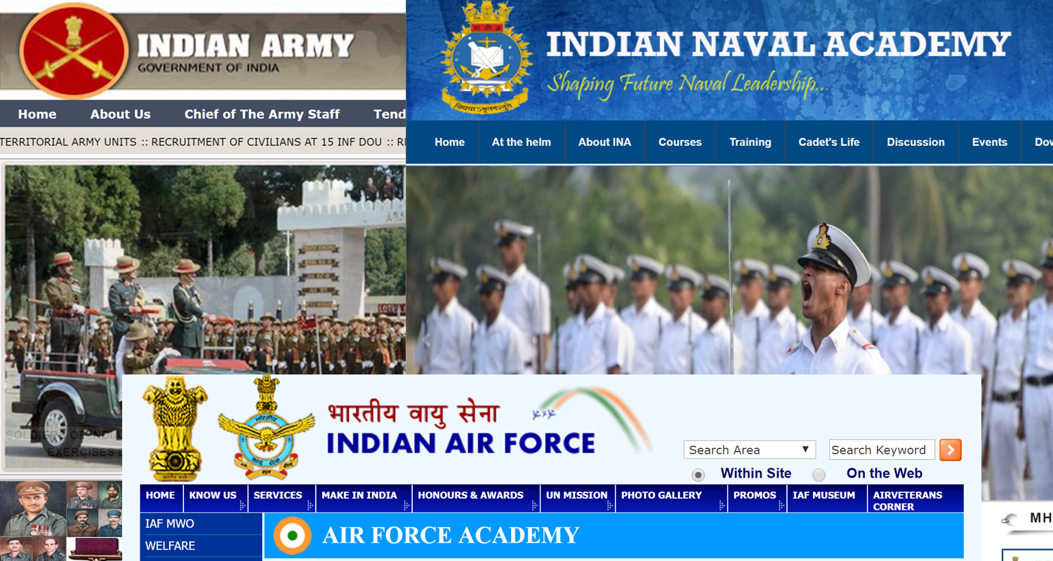 Indian military academy, Indian naval academy, Indian air force academy