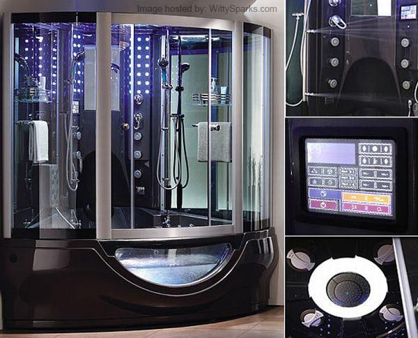 Hi-tech shower systems in bathroom