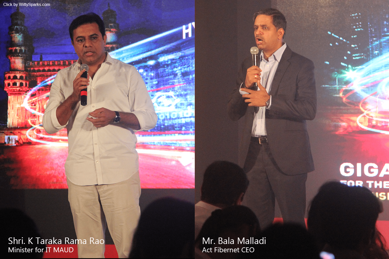 ACT Fibernet - KTR and Bala Malladi addressing media