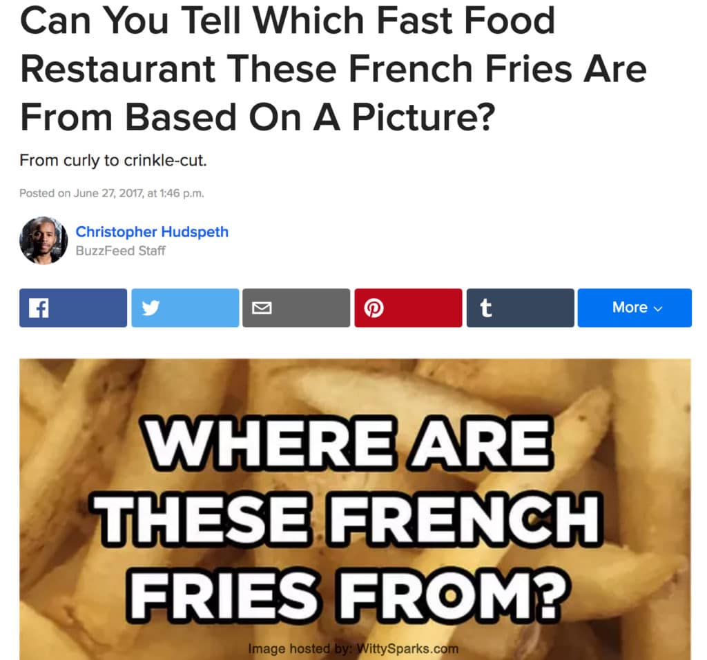 Can You Tell Which Fast Food Restaurant These French Fries Are From Based On A Picture