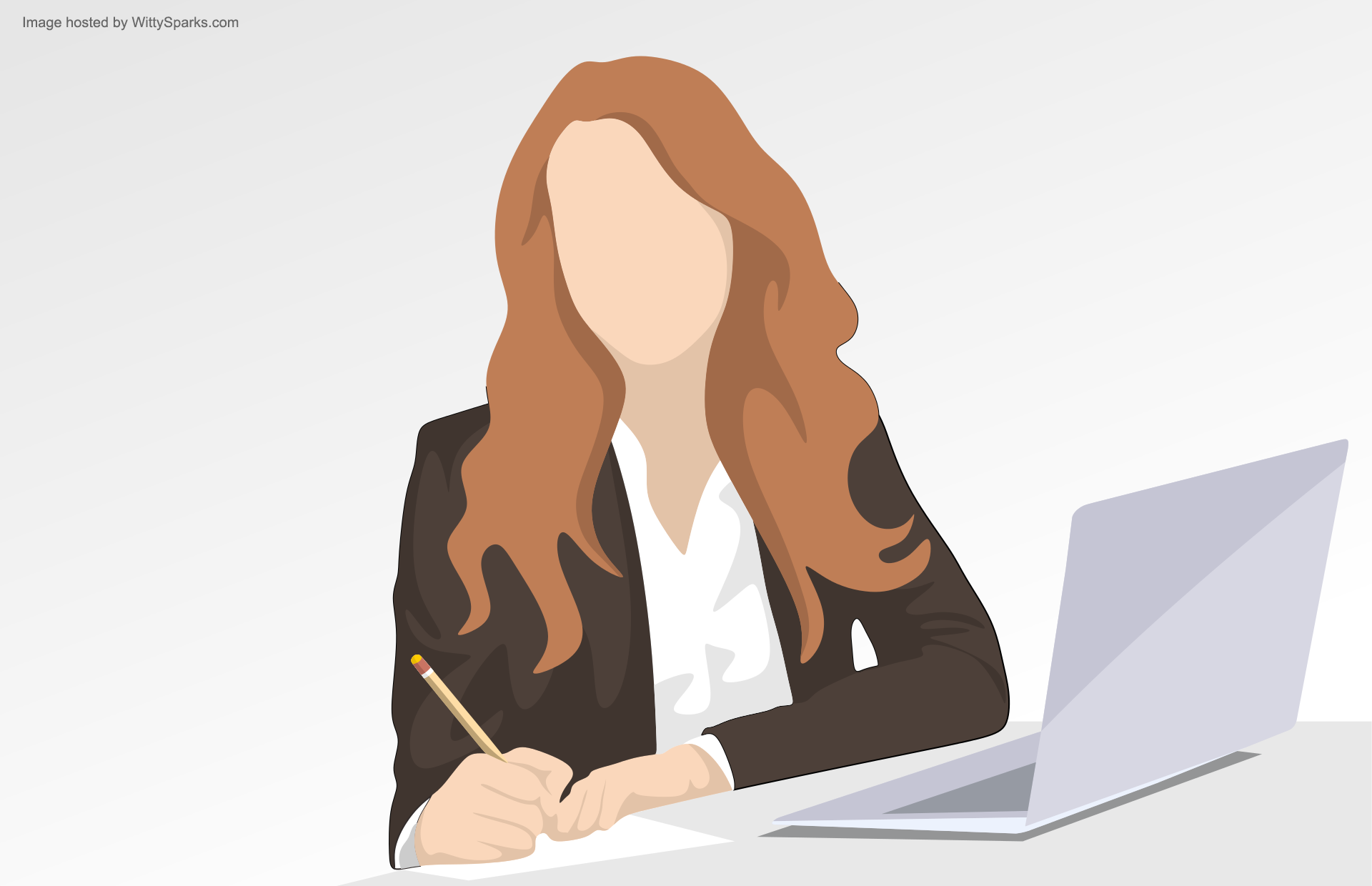 Woman Employee Laptop Notes Taking