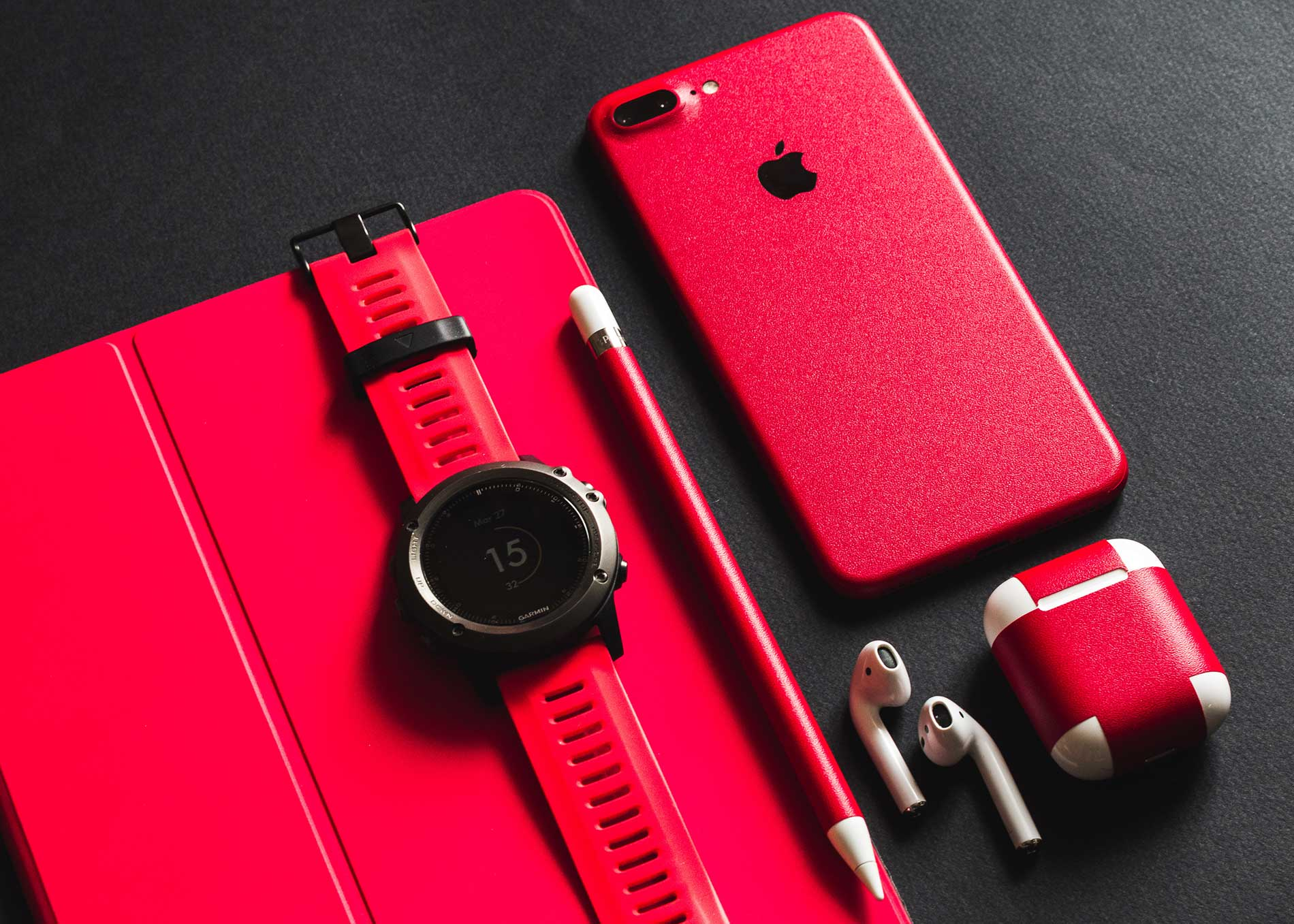 iPhone, iWatch, AirPods Red