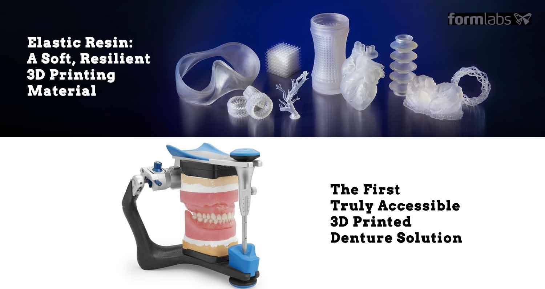 Elastic Resin 3D Printing Material and Denture Solution