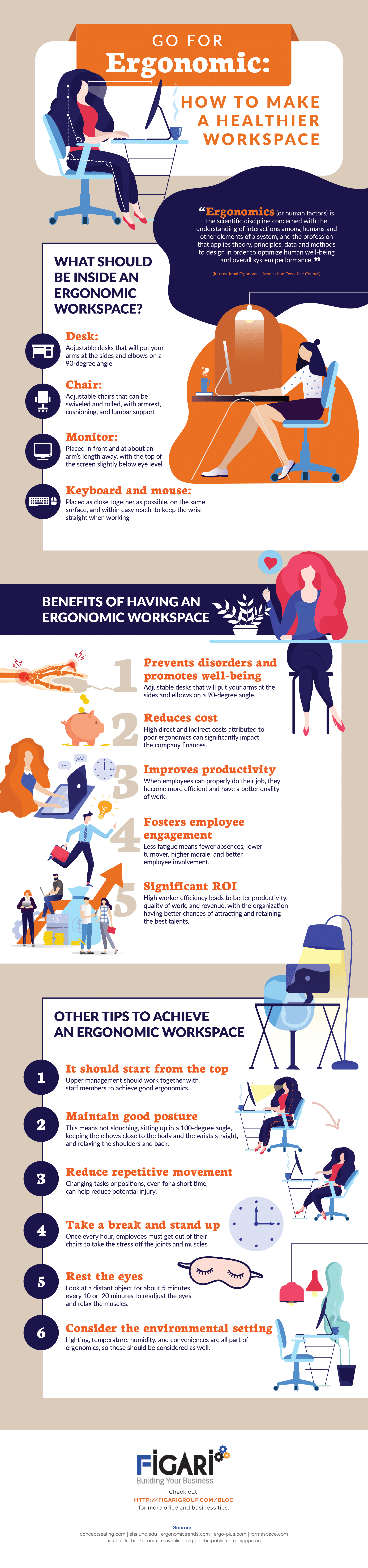 Go for Ergonomic - How to Make a Healthier Workspace Infographic