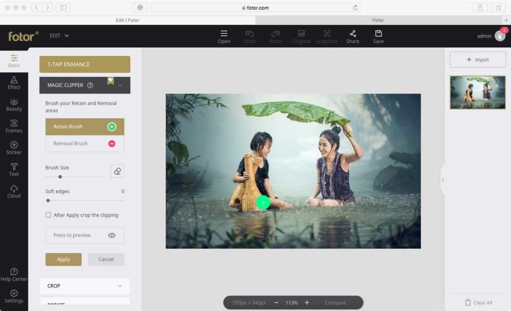 Fotor - Basic Photo Editing Features