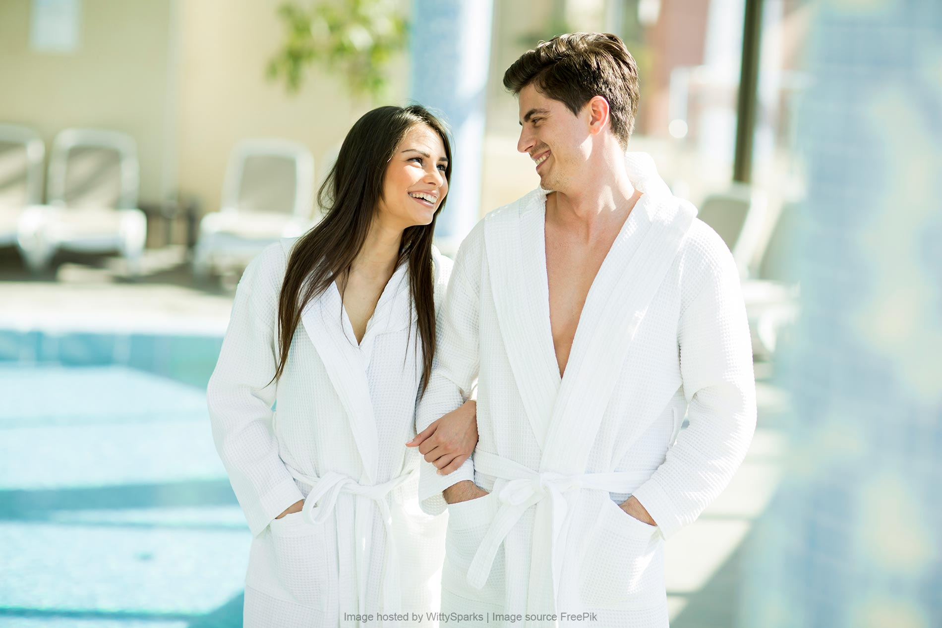 Young couple SPA robes