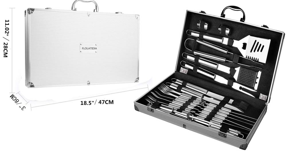 FLOLATIDIA BBQ Grilling Tool Set, BBQ Tools Set Barbecue Extra Strong Stainless Steel Utensils with Aluminum Storage Case-Barbecue Kit Men Outdoor Grill Kit.