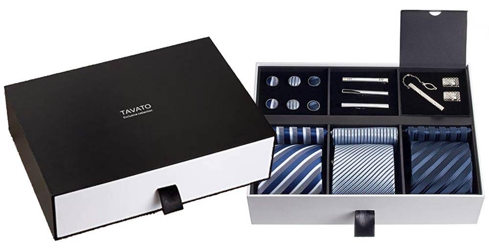 TAVATO - Premium Men's Gift Tie Set Silky Necktie Pocket Squares Tie Clips Cufflinks For Men