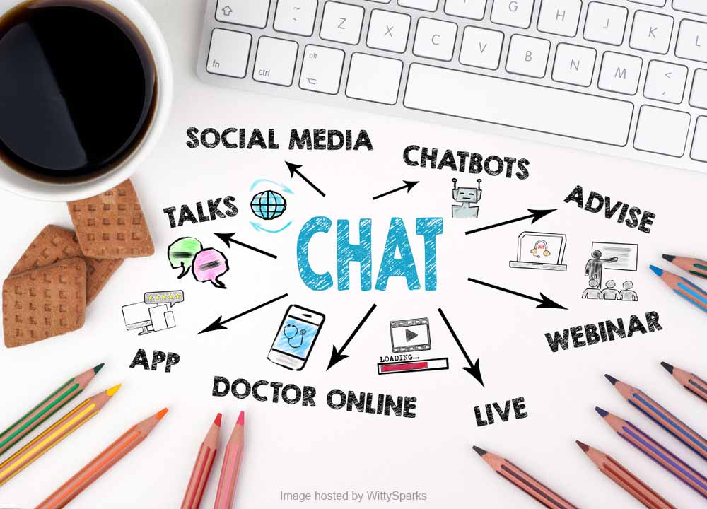 Social Media, Chatbots, Webinar, Live, Apps, Online Discussions, Doctor Appointment Online