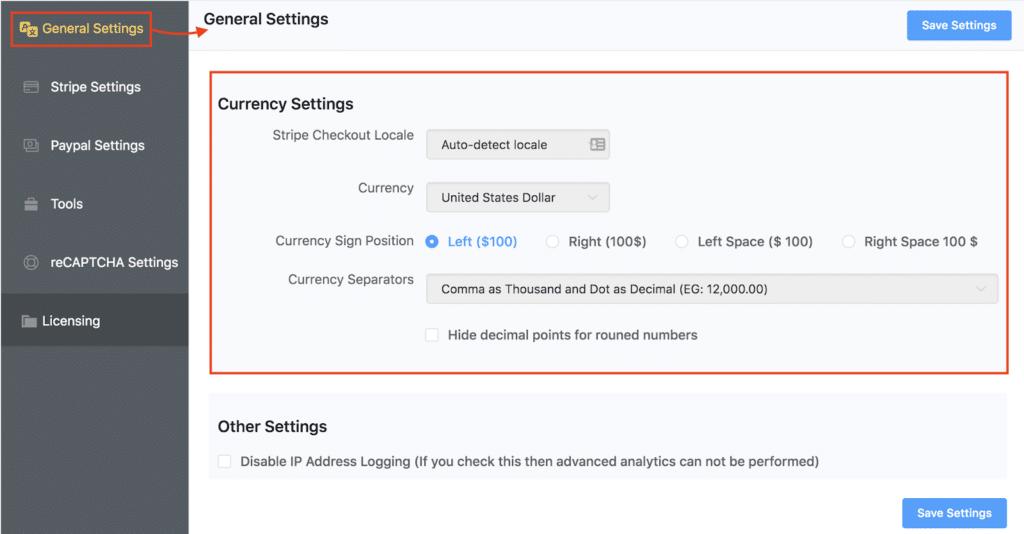 WPPayForm - Currency Settings