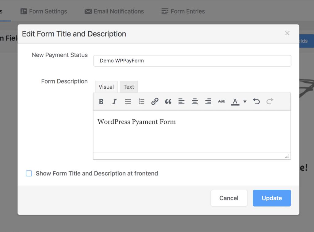 WPPayForm - Form Title and Description