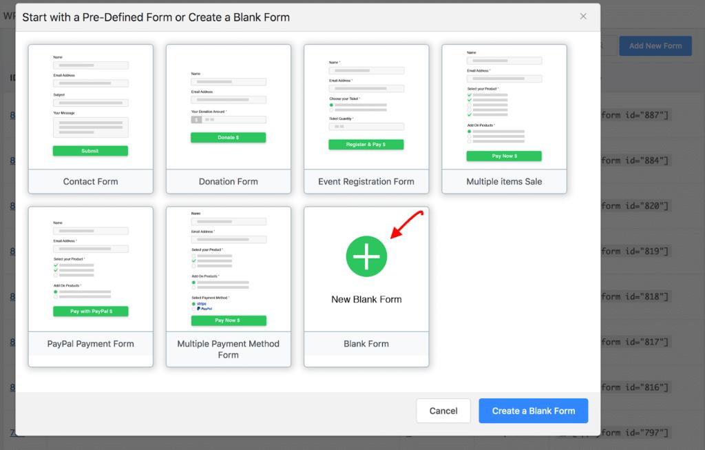 WPPayForm - Select Form Templates or Create a Blank Form