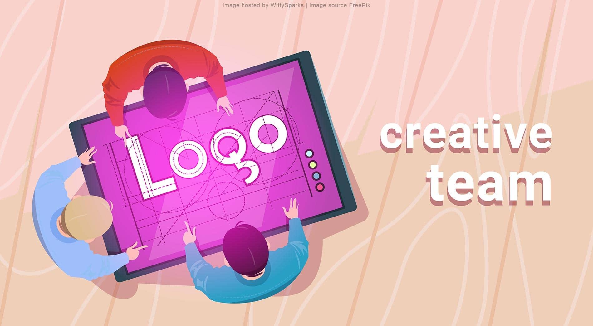 Creative team designing logo