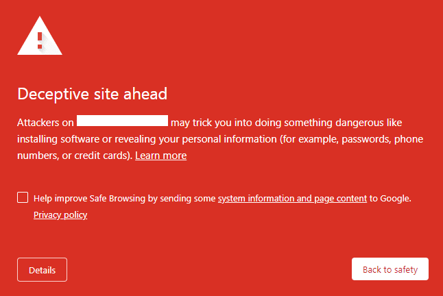 Deceptive site ahead - Alert