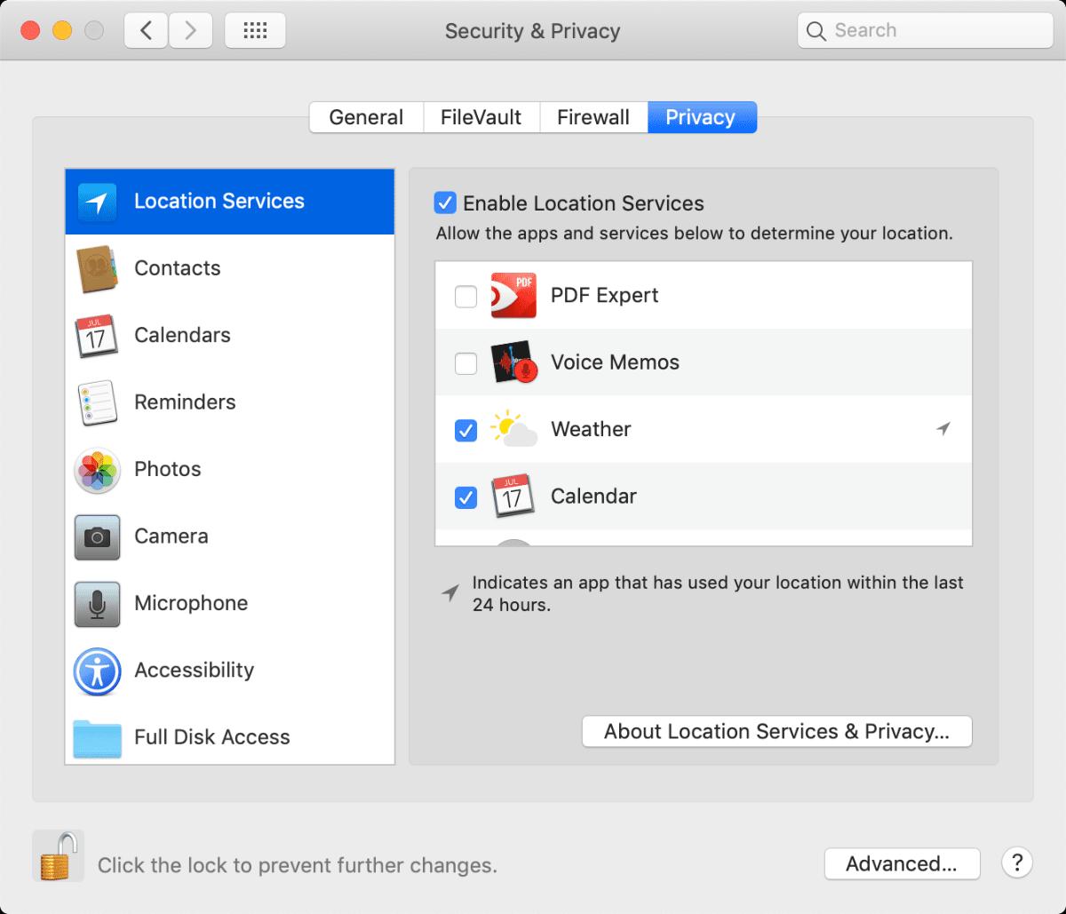Mac privacy setup