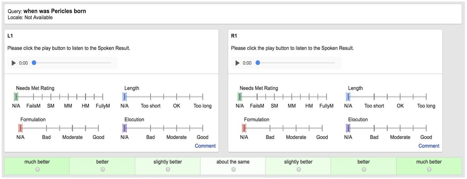 Evaluation of Search Speech - Google