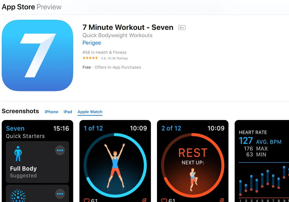7 Minute Workout - Apple watch apps