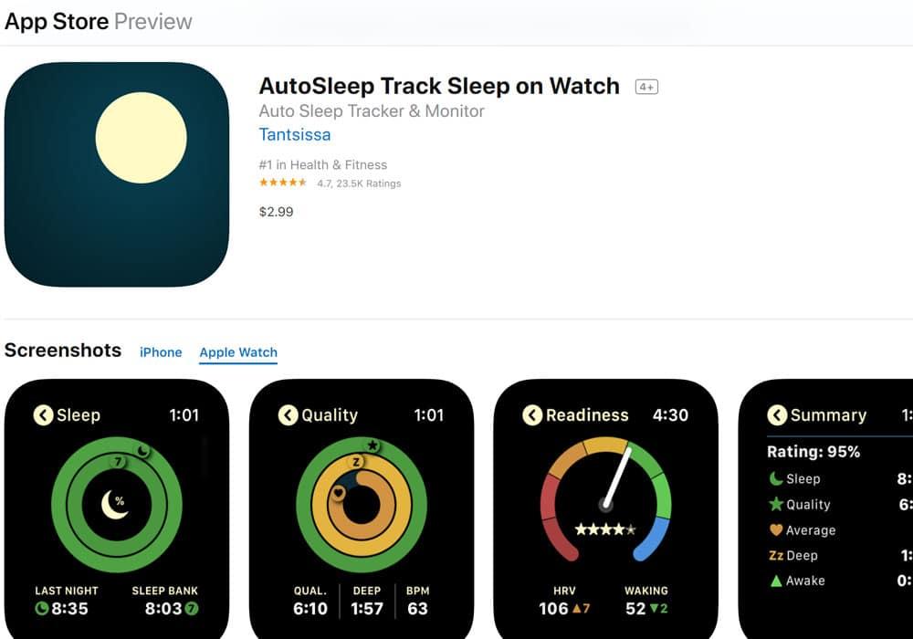 Autosleep - Track sleep on watch