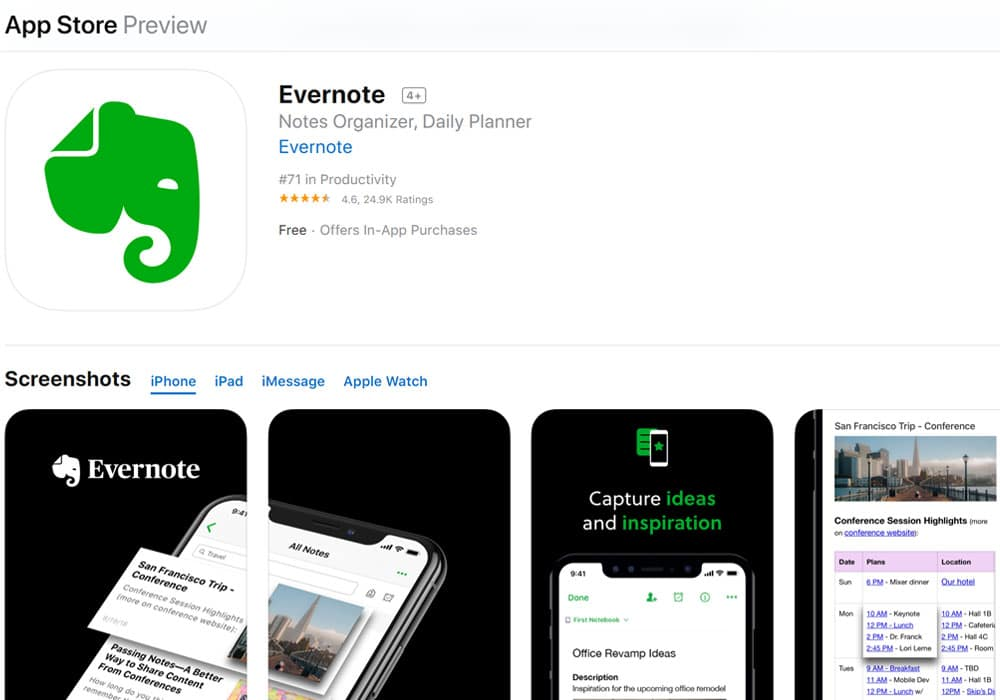 Evernote - Apple watch apps