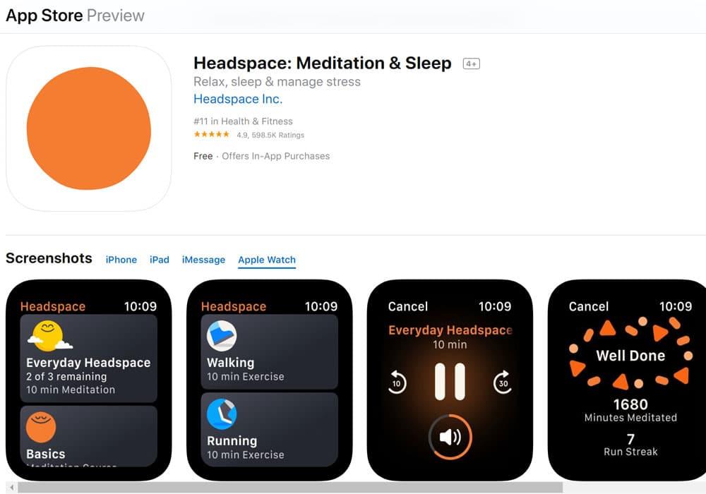 Headspace - Meditation sleep - Apple watch apps