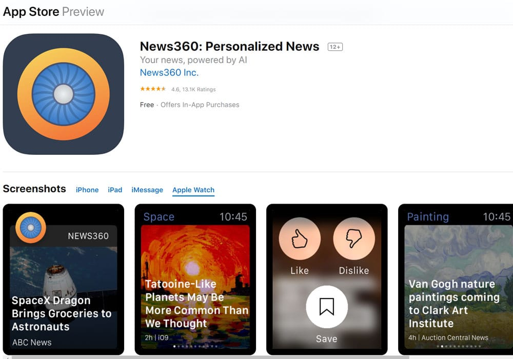 News360 - Personalized news - Apple watch apps