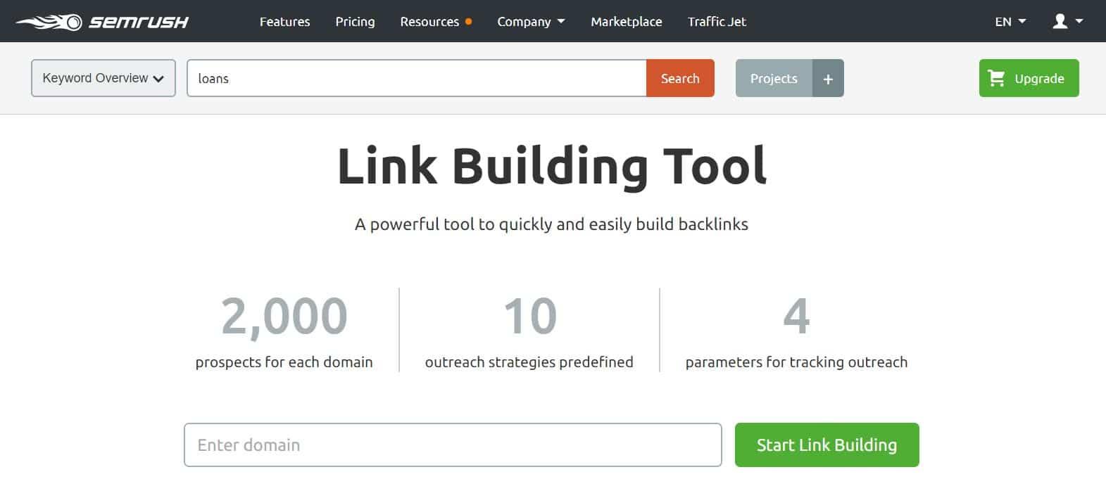 SEMrush - Link building tool
