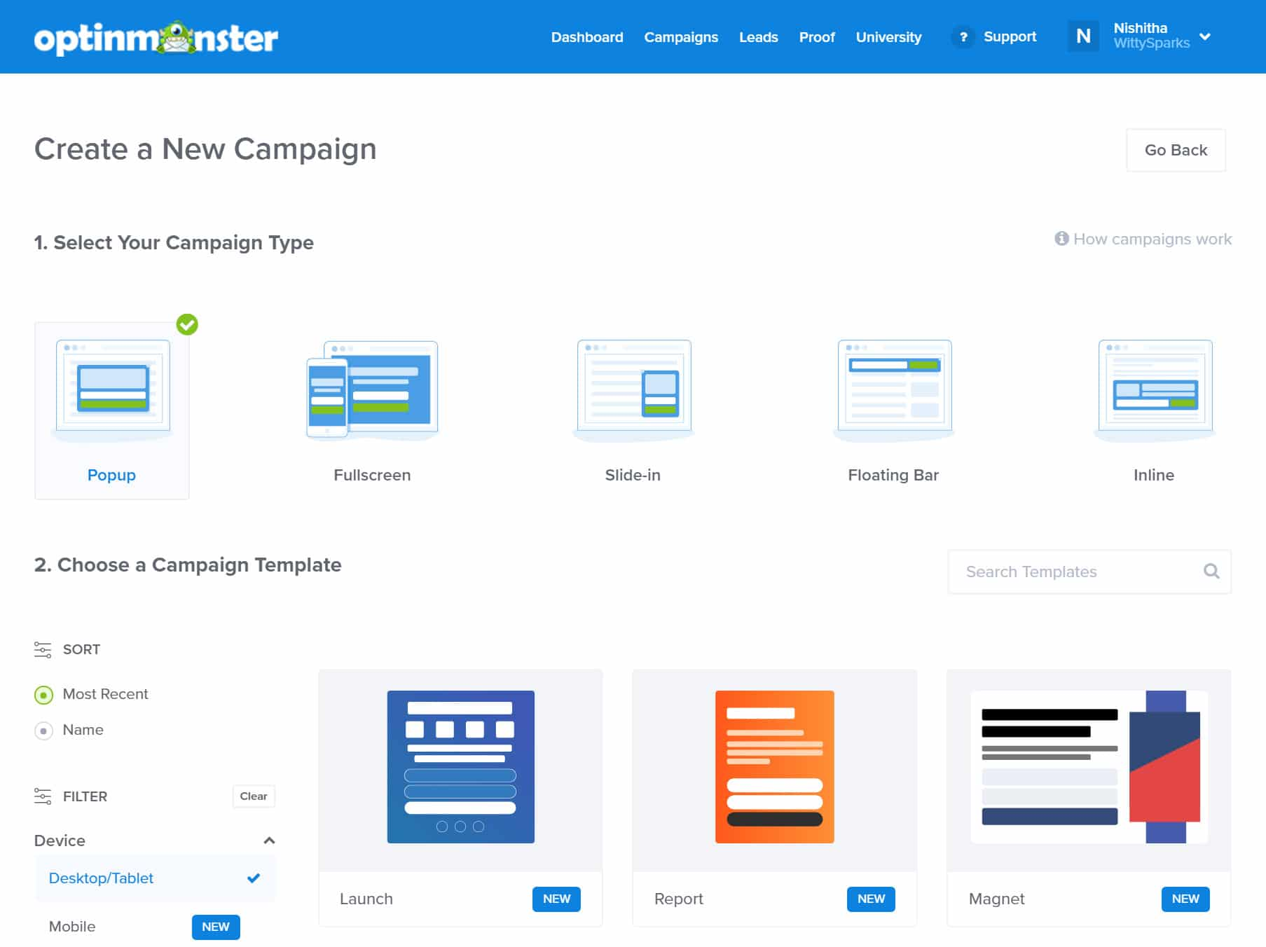 Creating campaigns with Optinmonster