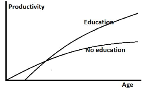 Individual productivity curve by level of education education or no education