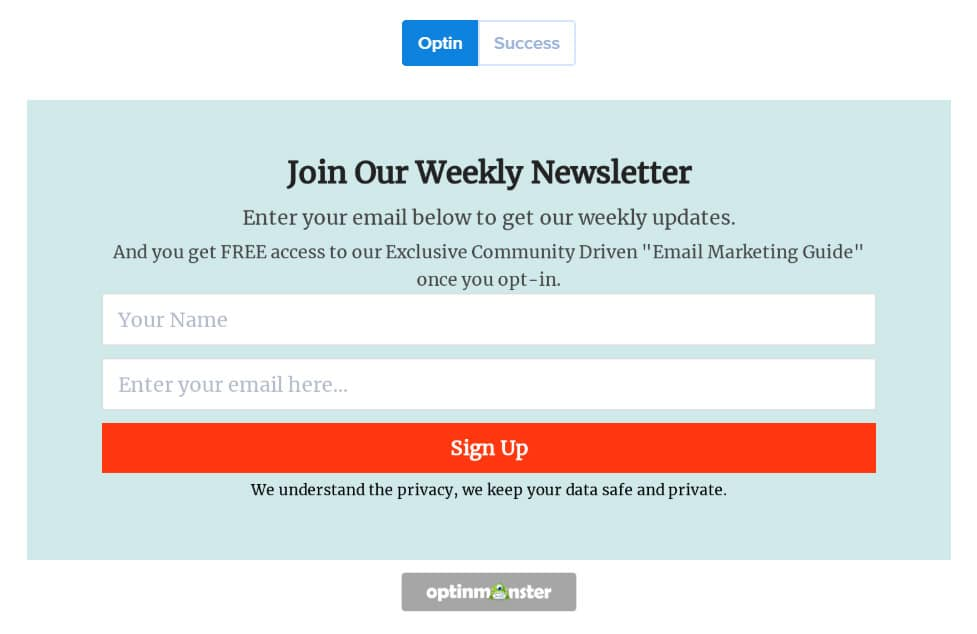 Weekly newsletter with Optinmonster