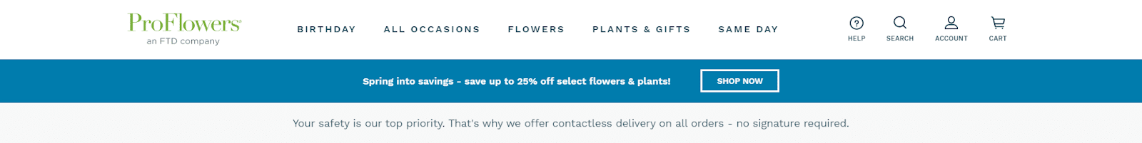 Pro Flowers an FTD company landing page