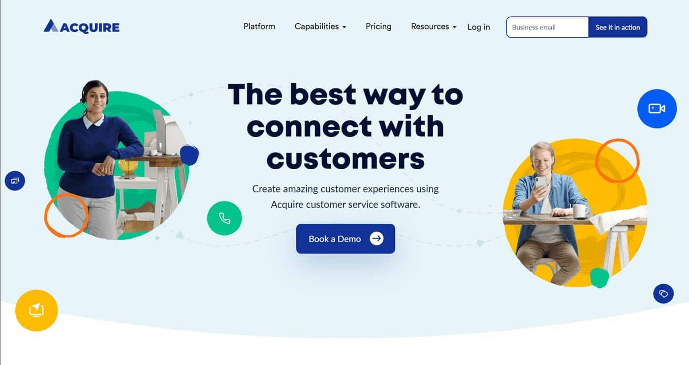 Acquire landing page design